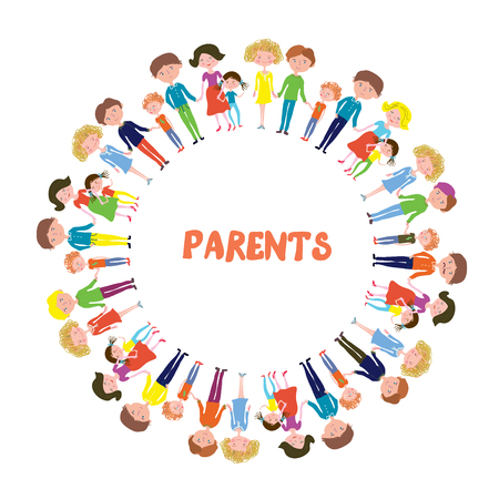 Families with kids background - circle frame design of vector illustration