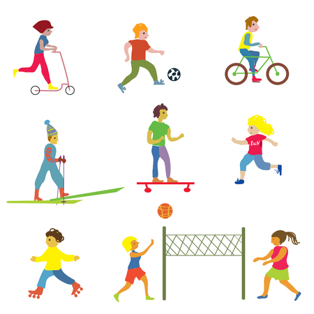 athlete cartoon: People making different sports - funny design vector illustrations