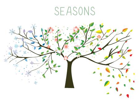 ni�os con pancarta: �rbol durante cuatro temporadas concepto - ilustraci�n vectorial