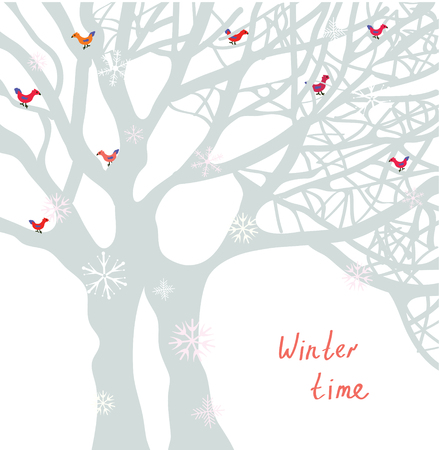 red berries: Winter time Christmas card with tree and birds - vector illustration