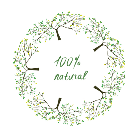 label frame: Frame or label with trees for natural eco products - vector illustration