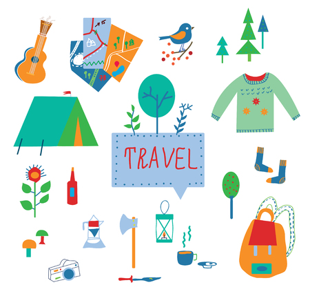 summer season: Travel and tourism icons set with funny design - vector illustration