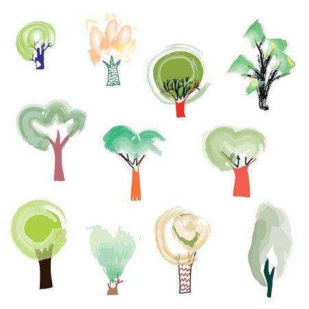 spring summer: Trees set in sketchy artistic style - vector illustration Illustration
