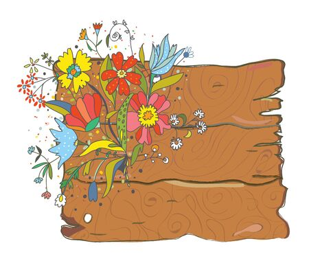 commercial painting: Wood texture background with flowers - vector illustration Illustration
