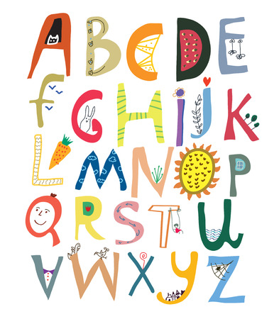 Funny alphabet for kids with faces, vegetables, flowers and animals - vector illustration