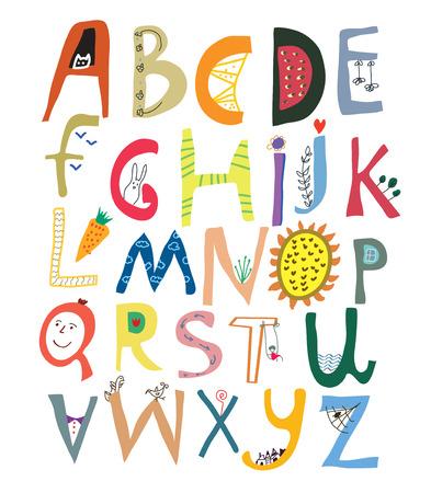 Grappig alfabet voor kinderen met gezichten, groenten, bloemen en dieren - vector illustratie