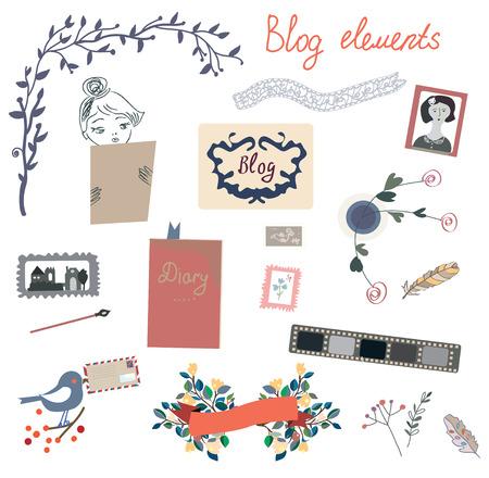 blogs: Blog elements set for the retro design - vector illustration