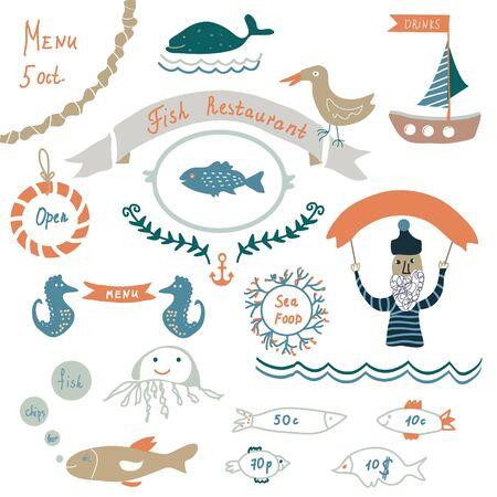 shrimp boat: Fish restaurant invitation or menu elements - funny design, vector illustrations