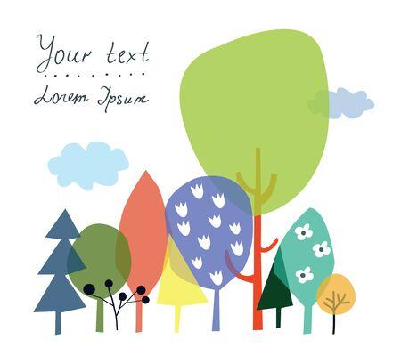 manos logo: La naturaleza y el bosque de fondo para la presentaci�n o tarjeta con copyspace - ilustraci�n vectorial