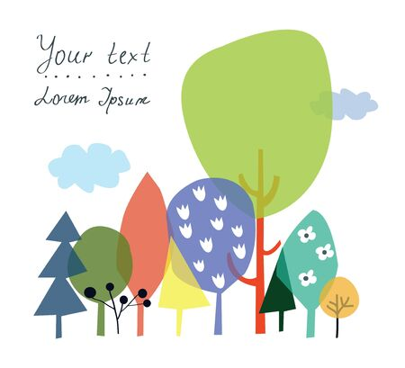 education icons: Nature and forest background for the presentation or card with copyspace - vector illustration