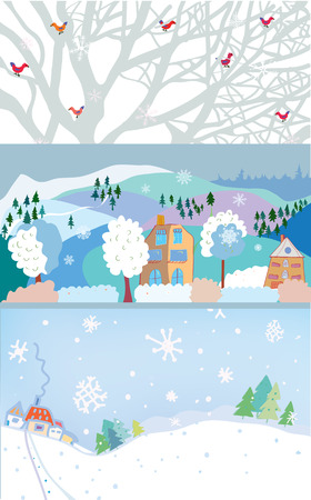 birds in tree: Winter banner for Christmas and New year time - vector illustration