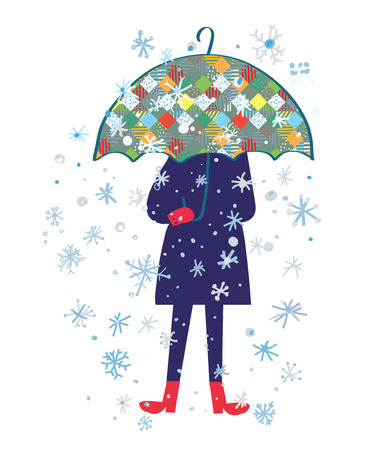 weather protection: Snow storm and person with umbrella - cold weather vector illustration