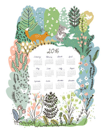 background calendar: Calendar 2016 with nature theme - trees and animals vector illustration
