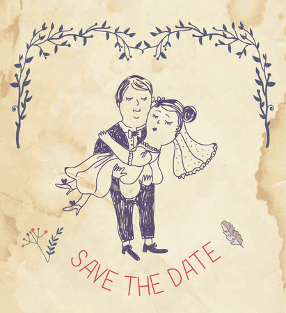 couple date: Save the date wedding invitation - retro style vector illustration Illustration