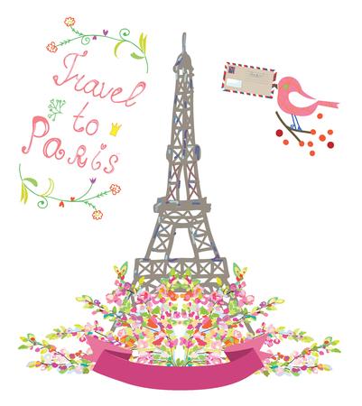 voyage vintage: Voyage à Paris affiche mignonne avec des fleurs et des oiseaux - illustration vectorielle Illustration