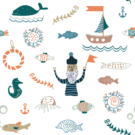 nice: Fishes and sea food seamless pattern - nice design of vector illustration