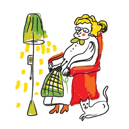 skecth: Old lady knitting sketch - cozy room illustration in vector Illustration