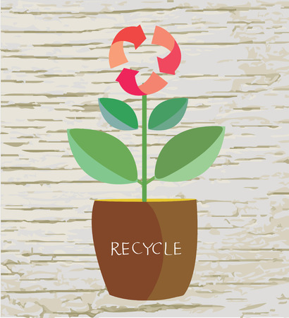 recycle sign: Ecology concept with flower and recycle sign