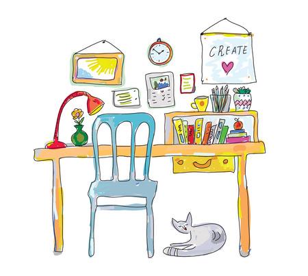 interior design living room: Home workplace for designer sketch - interior hand drawn vector illustration Illustration