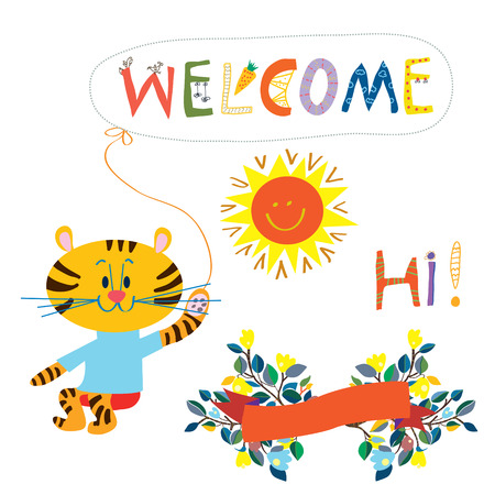 sun flowers: Welcome card elemenent for the baby - cute animal, flowers and sun vector illustration