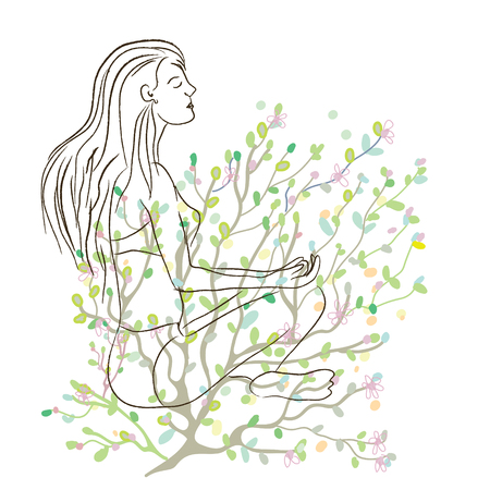 joga: Yoga poster with girl sketch and nature background