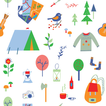 summer season: Travel and camping seamless pattern with many icons - vector illustration
