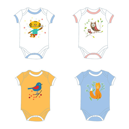 garments: Baby garments t-shirts with animals print - vector designs illustration Illustration