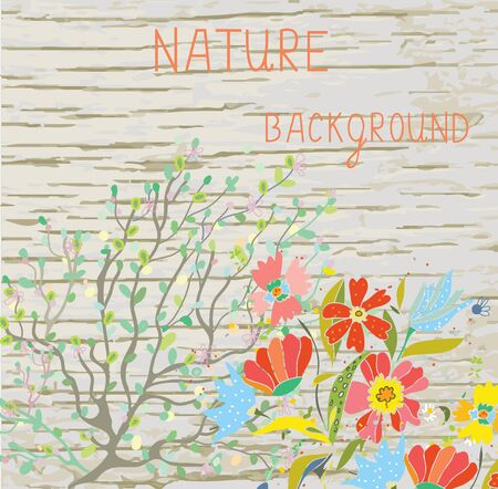 oak wood: Natural background with flowers, branches and wood texture for spa or eco banner  Illustration