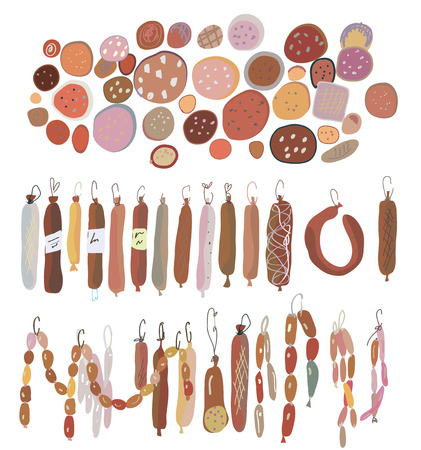 delicatessen: Sausages set, various sorts Illustration