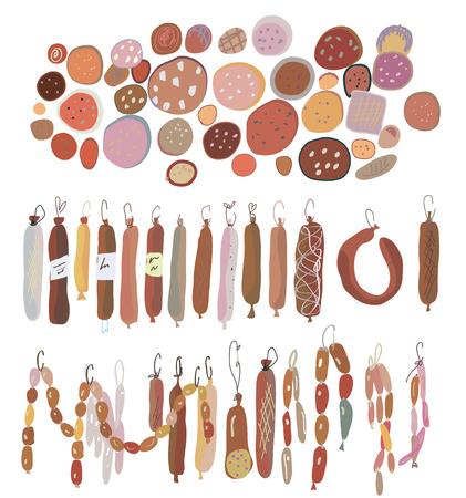 sausages: Sausages set, various sorts Illustration