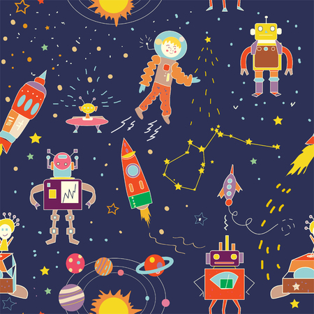 adventures: Space funny seamless pattern for kids - vector illustration
