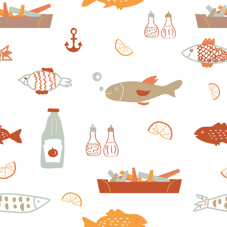 fish and chips: Fish  and chips seamless pattern - sketchy vector design
