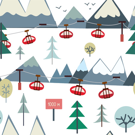 alpine: Ski sport and mountains seamless pattern with trees and elevators - vector illustration