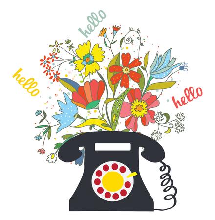 hablando por telefono: Teléfono con flores y la palabra hola - la comunicación ilustración vectorial Vectores