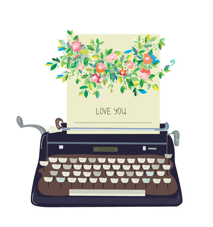 blogs: Love you card with typewriter and flower - conceptual vector illustration Illustration