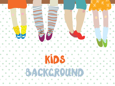 sentarse: Los niños de fondo para la bandera del jardín de infancia o en la tarjeta - ilustración divertida del vector
