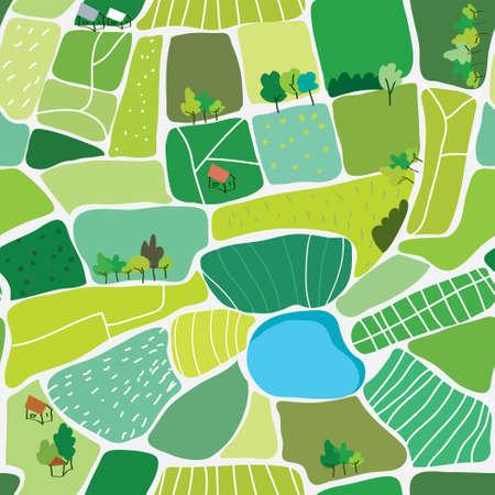 paisaje de campo: vista superior del paisaje sin patrón - ilustración vectorial