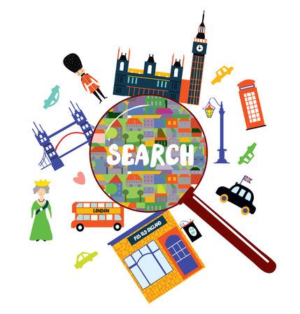 london landmark: London landmark searching concept - vector illustration