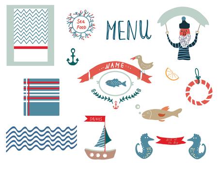 yachts: Fish restaurant menu design elements in funny style - vector illustration Illustration