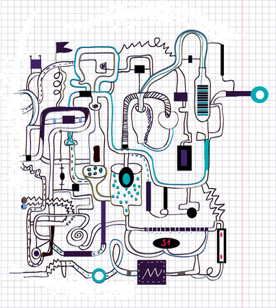 Technical doodle drawing - vector background illustration