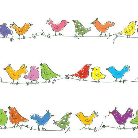 pajaro caricatura: Aves divertidas patrón - ilustración vectorial brillante