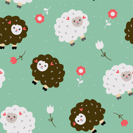 wool sheep: Funny seamless pattern with sheeps and flowers - vector illustration