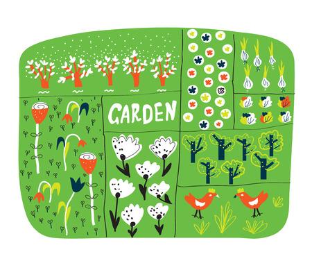 Tuin plan met bedden grappig illustratie - vector Vector Illustratie