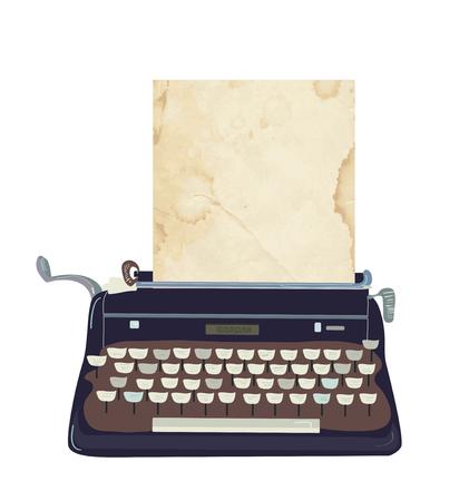classic authors: Typing machine  vector illustration - retro style