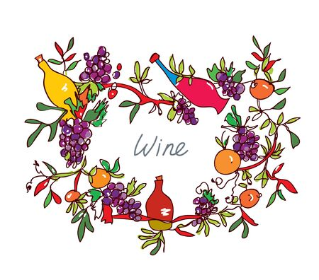 drink food: Frame for wine with leaves and bottles - ornamental vector illustration
