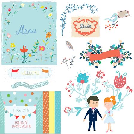 anniversario matrimonio: elementi di design di nozze con il disegno sveglio - vector illlustration Vettoriali