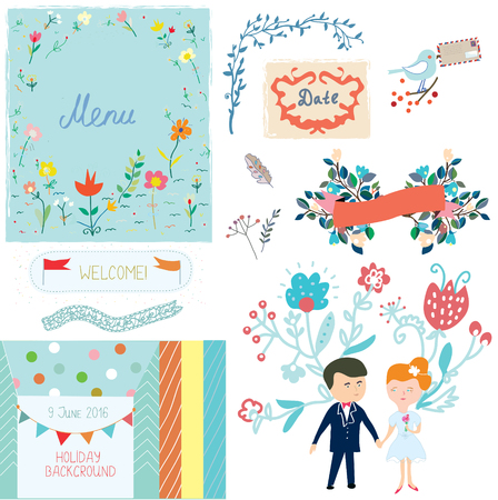 aniversario de boda: elementos de diseño de la boda con diseño lindo - Vector illlustration