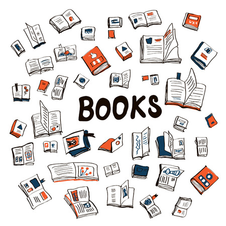 Many books sketchy background - vector illustration