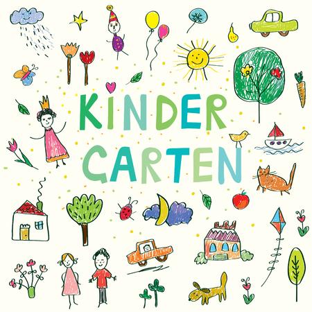 niños con lÁpices: banner de jardín de infancia con niños divertidos dibujo - diseño del vector Vectores