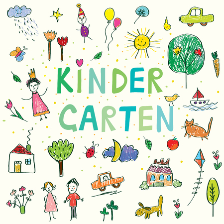 pencil and paper: Kindergarten banner with funny kids drawing - vector design